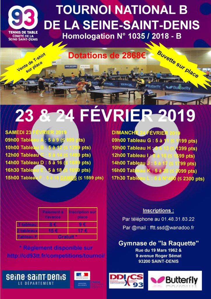 1-Affiche du Tournoi National B du CD93TT 2018-2019
