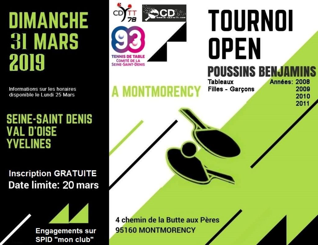Tournoi Open Poussins-Benjamins 2018 2019 CD78-93-95 Affiche