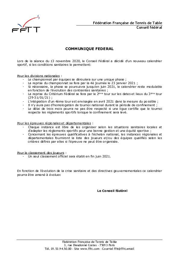 Communiqué FFTT du 16-11-2020